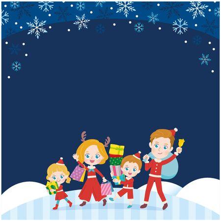 Family enjoying Christmas. It's vector art so it's easy to edit.