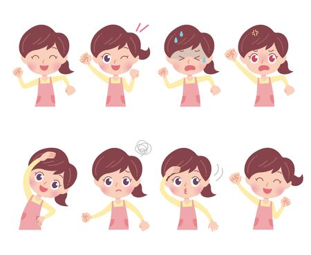 A set of nursery teacher with who express various emotions.It's vector art so it's easy to edit.