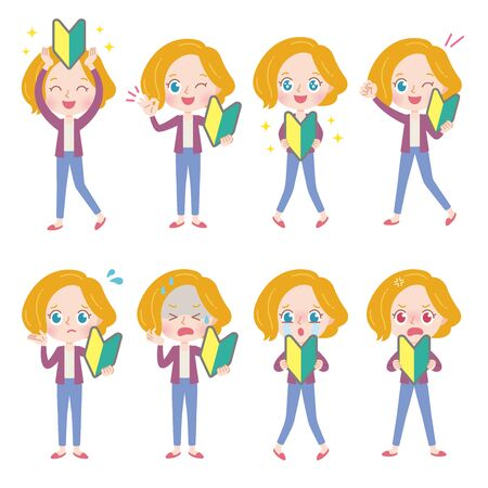 A set of blonde woman with who express various emotions.It's vector art so it's easy to edit.