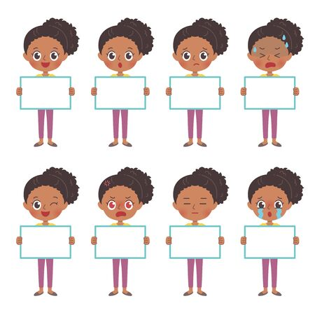A set of african woman with who express various emotions.It's vector art so it's easy to edit.
