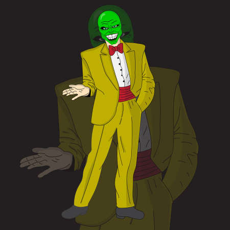 cartoon character of a man in a suit wearing a green mask 矢量图像