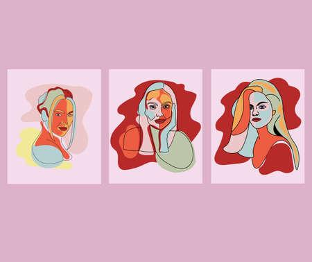 set artistic vector of pastel color surrealist face