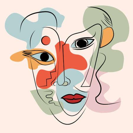artistic vector of pastel color surrealist face