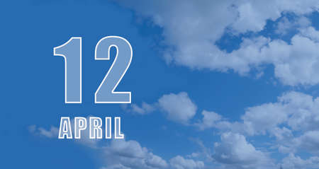 April 12.12-th day of the month, calendar date.White numbers against a blue sky with clouds. Copy space, Spring month, day of the year concept. Stock fotó