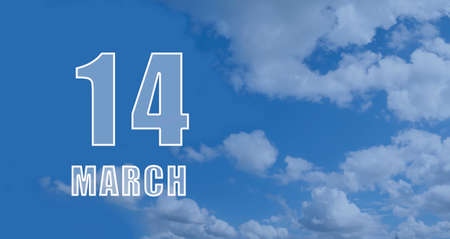 march 14.14-th day of the month, calendar date. White numbers against a blue sky with clouds. Copy space, Spring month, day of the year concept.