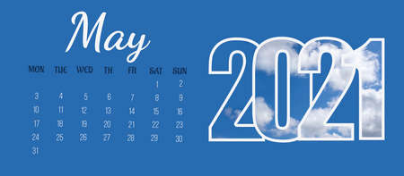 Full-month calendar page: May 2021. The name of the month, the days of the week, the numbers of the days and the year on a blue solid background. The concept of a calendar date