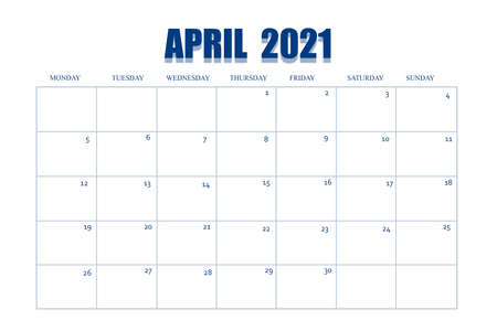 Event planner for April 2021. Calendar page on white isolated background. Table with days and weeks of the month for reminders, business planning, meetings, and events. Banque d'images