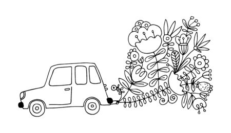 Eco car. Vector illustration of a black line on a white background. Flat vector eco car with exhaust from plants and flowers. Modern ecology concept for prints and various design. Eps 8.