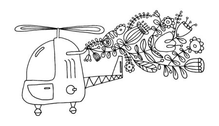 Eco helicopter. Vector illustration of a black line on a white background. Flat vector eco helicopter with exhaust from plants and flowers. Modern ecology concept for prints and various design. Eps 8.  イラスト・ベクター素材