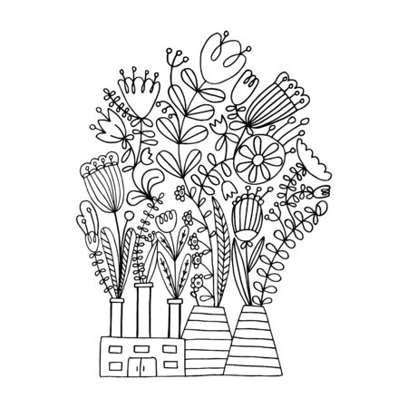 Eco factory. Vector illustration of a black line on a white background. Flat vector eco cigarette with exhaust from plants and flowers. Modern ecology concept for prints and various design. Eps 8. Ilustração