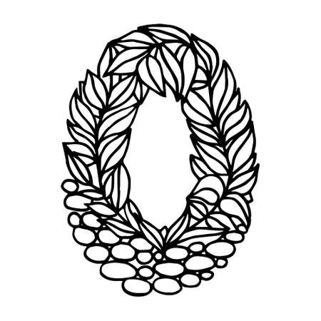 Hand of dawn vector letter O isolated on white background. English alphabet capital letters with a pattern of plants and stones. Beautiful natural illustration. Typographic Template. Eps 8.