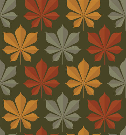 Vector seamless pattern of chestnut leaf in three colors red, yellow, green on a dark green background. Textile sketch, background, wrapping paper, design, packaging.