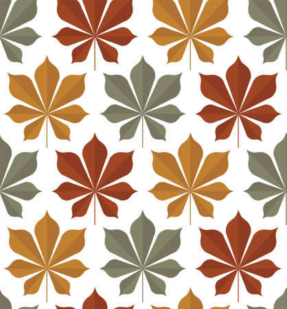 Vector seamless pattern of chestnut leaf in three colors red, yellow, green on a white background. Textile sketch, background, wrapping paper, design, packaging.