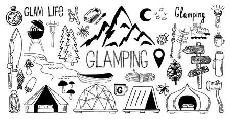 Large set of glamping and camping thin line pictures. Vector illustration in doodle style. Outdoor goods and glamping. Eps 10.