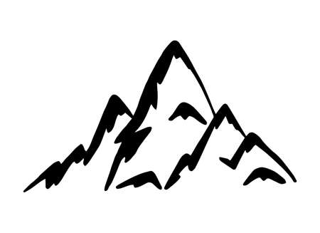 Rocky mountains vector illustration. Hand drawn alpine mountain silhouette in doodle style. Use for label and logo. Ilustrace