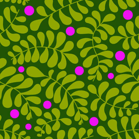 Vector seamless pattern. Abstract drawing with plant elements on a green background. Vivid colors in pictures. Hand drawn. Use for printing prints on fabrics, wallpapers and more.