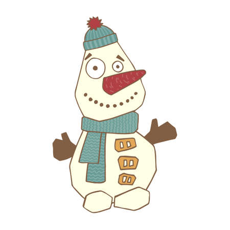 Cute snowman on a white background. Cheerful, colorful vector illustration. Use for the design of cards, Christmas paraphernalia.