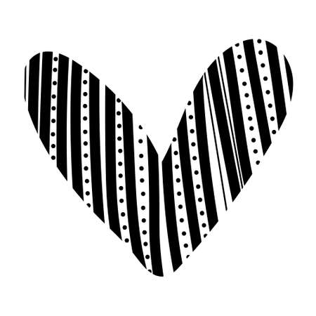 Hand drawn heart. Hand drawn rough lines black heart isolated on white background. Vector illustration for your graphic design for Valentine s Day.