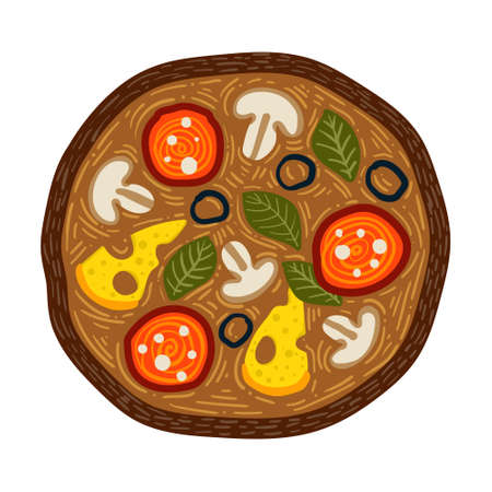 Vector illustration of fresh pizza with cheese, olives, sausage, basil, champignon. Traditional Italian fast food. European appetizer. Isolated white background.