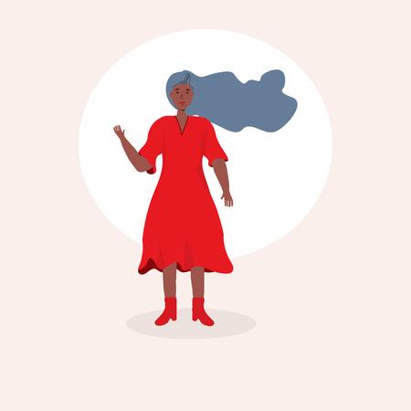 Happy girl waving or greeting, happy emotion illustration. Illustration