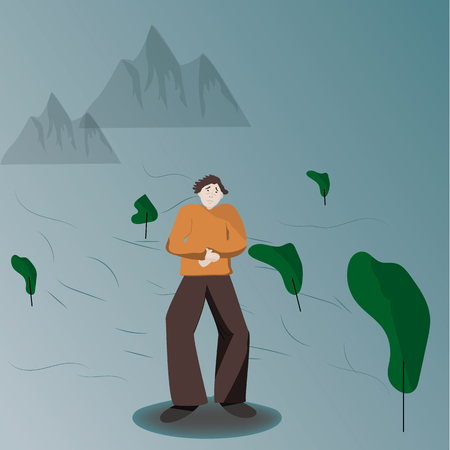 Illustration of a man feeling cold and lonely, emotion can a cancer patient or a dipressed individual deal in everyday life.