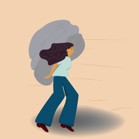 Heavy burden. A woman carrying a heavy stone, illustration of an emotion in a manner that is socially tolerable. Illustration