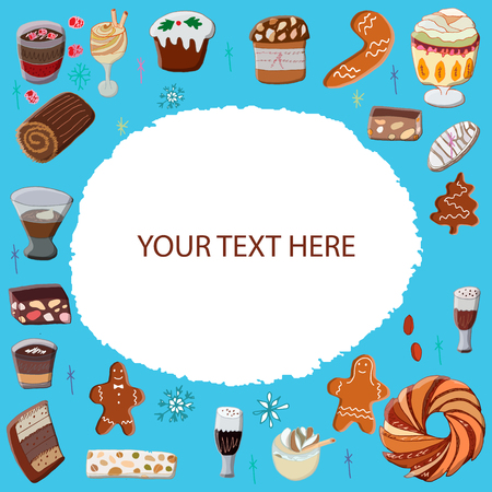 Oval shape made of assorted winter desserts, sweets. Design template. Illustration