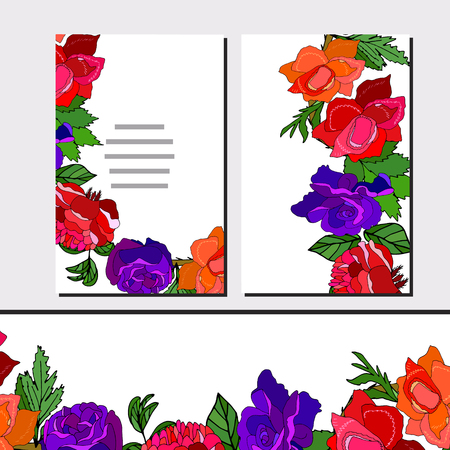 Floral set of cards with roses for your design, greeting cards, festive announcements, posters. - Vector