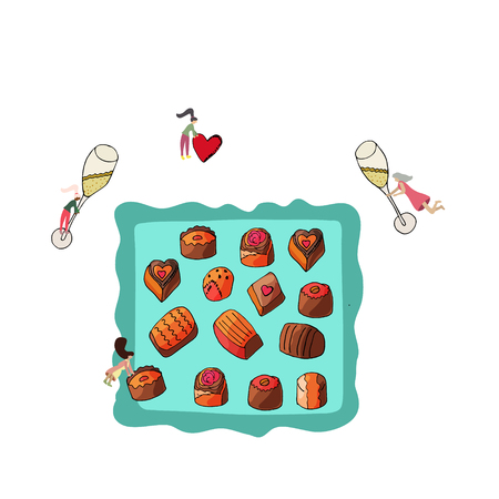 Tiny women preparing romantic set for valentine with chocolate, red heart, chocolates on tray and two glasses of champagne.