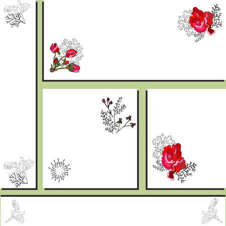 Card templates with red rose and black sweet pea silhouette. Design for romantic announcements, greeting cards, posters, advertisement. Vector