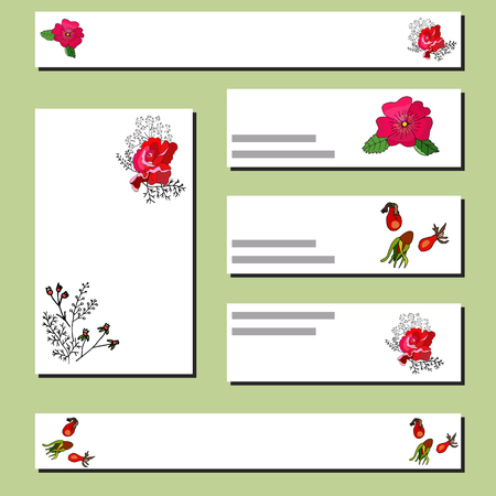 Collection of floral templates with red rose and rosehip. Design for romantic announcements, greeting cards, posters, advertisement. Vector