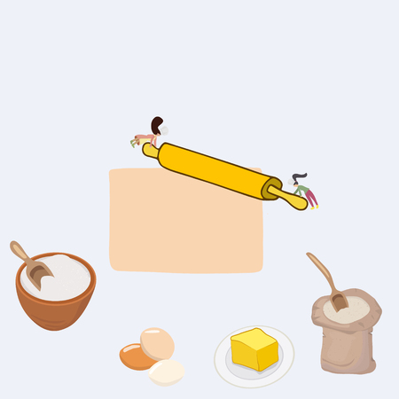 Tiny women making pasta. Freshly homemade cooking process illustration. Stock Illustratie