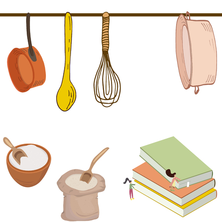 Small girls looking for recipe and getting ready to cook. Cute kitchen set illustration. Vettoriali
