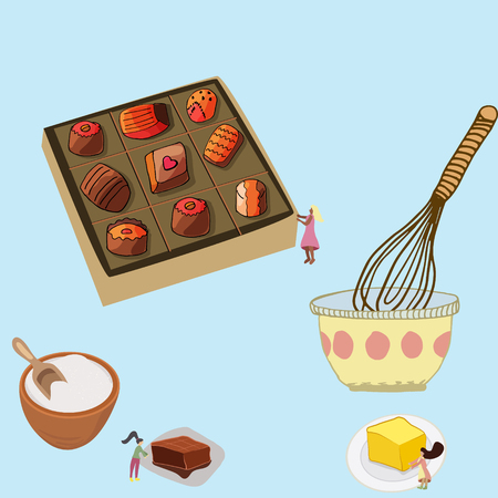 Small women making chocolate and packing in the beautiful box. Pretty vector illustration.