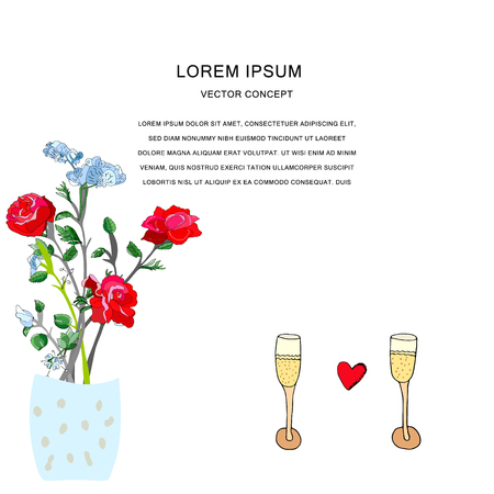 Handdrawn illustration of two glasses and flowers in vase with text frame. Valentic theme clipart with text frame. Isolated elements on white background. Vector.