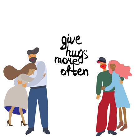 Cuddling couples with handwritten note give hugs more often. Vector illustration on white background. Ilustração