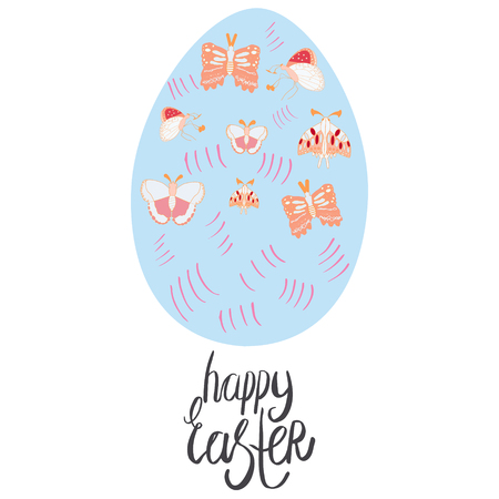 Beautiful blue Easter egg with butterflies.  Flat style clip art with hand lettering happy easter. White background. Greeting card, poster design element. Vector illustration.