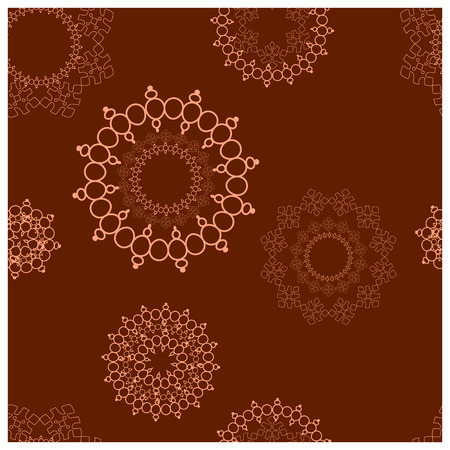 Jewellery pendant flat hand drawn seamless pattern. Chocolate brown background. Accessories sketch clipart. Jewels textile, background, web, wrapping paper. Vector illustration Vettoriali