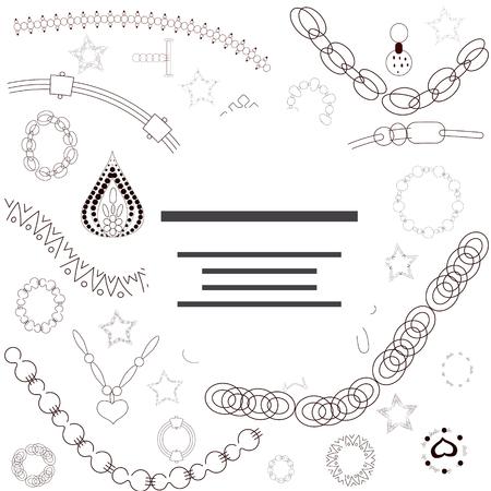Illustration de cadre de bijoux noir avec un espace pour votre texte. Affiche, conception de vecteur de bannière, cartes de voeux, publicités de bijouterie. Illustration vectorielle.