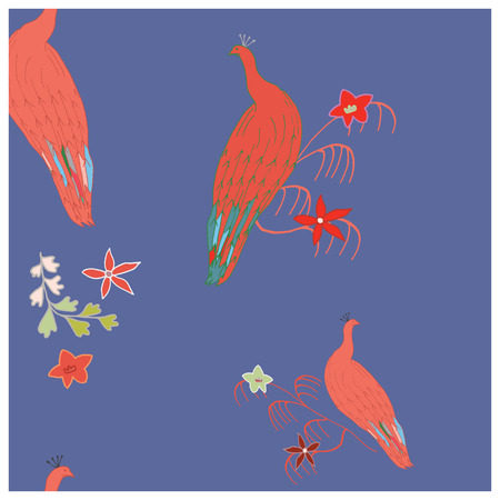Coral peacocks cute hand drawn seamless vector pattern with doodle style flowers. Sketch textile, wrapping paper, background, wallpaper, pattern fills, web page background. Vector illustration.
