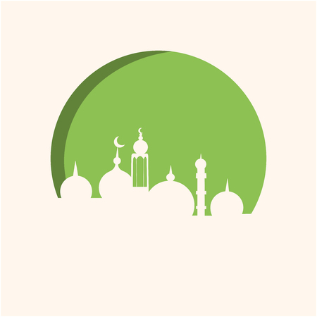 White mosque on green background paper cut style. Seasonal holidays greeting card design, poster design elements. Vector.