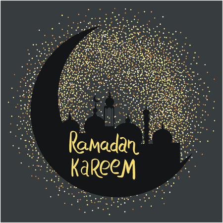 Ramadan Kareem with sparkling glitter crescent moon on dark background for muslim holy month. Flat style background. Seasonal holidays greeting card, poster design elements. Vector.