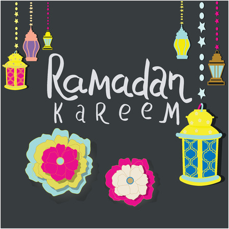 Vector illustration with Lamp on dark background for Ramadan Kareem. Hanging illuminated lamp with phrase Ramadan Kareem. Colorful flowers.