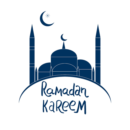 Ramadan Kareem hand lettering. Blue Mosque on white background. Card template. Vector illustration.