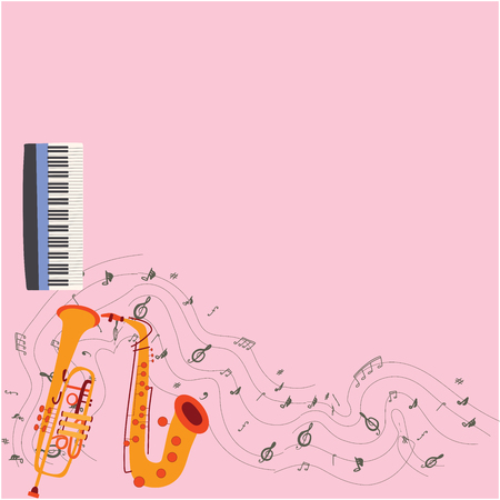 Vector design of musical instruments on pink background.  Keyboard, saxophone and trumpet with musical notes hand drawn color illustration. Greeting card, banner, poster sketch design. Vector