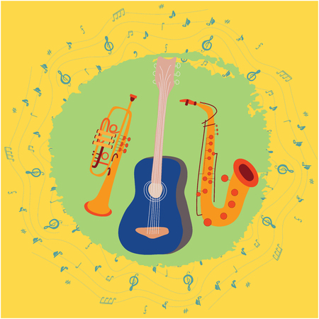 Color vector design with guitar, saxophone and trumpet. Border with musical notes. Round textured shape background.  Greeting card, banner, poster sketch design. Vector Ilustracja