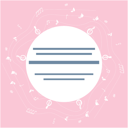 Round shape with musical notes border. Textured background for text. Poster design, music festival banner. Vector background for flyer, poster. Flat vector Illustration for music festival.