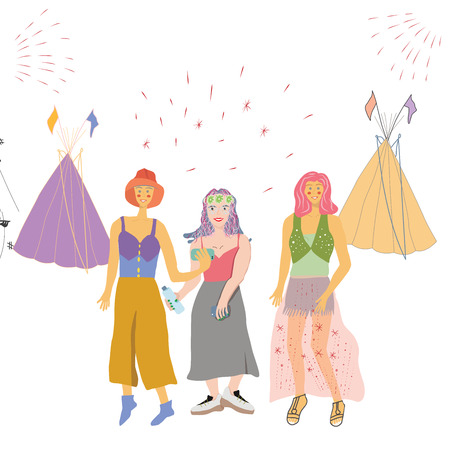 Girls taking selfies during festival. Tents and fireworks on background. Poster design, music festival banner. Vector background for flyer, poster. Flat vector Illustration for music festival. Stock Illustratie