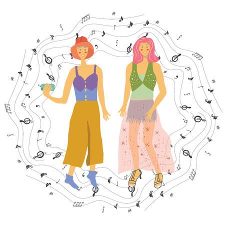 Girls taking selfie with musical notes cirlce border. White background. Poster design, music festival banner. Vector background for flyer, poster. Flat vector Illustration for music festival. Stockfoto - 124975790