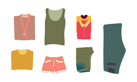 Vector illustration clothes ready to pack in luggage. Flat lay concept.  Advertising, poster, banner and web design.